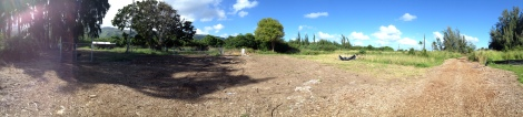 Panoramic View of Future Veggie Bed Area: Camp Mokuleia 10 Acre Design